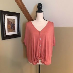 Peach Top -Tie Front & Mother of Pearl Buttons